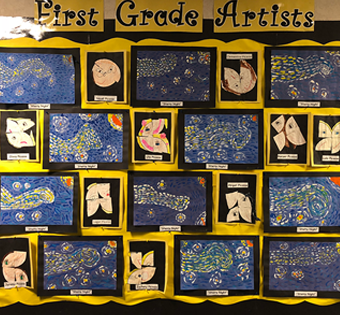 display of First Grade Artists work