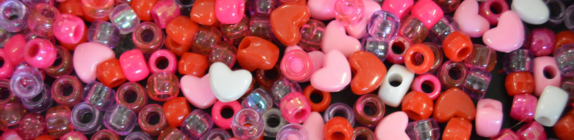 Heart and circle shaped beads