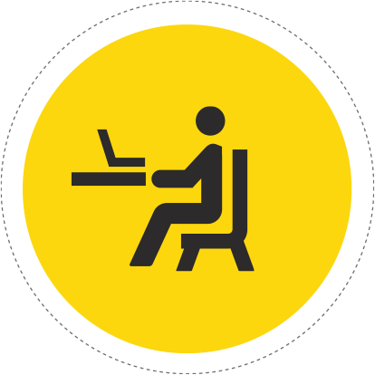 sitting at computer desk icon