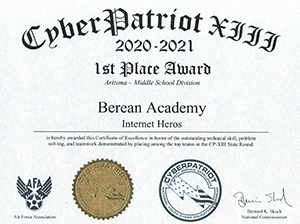 Cyber Patriot Certificate