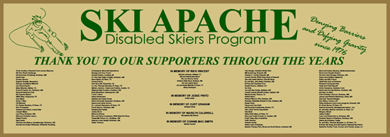 Ski Apache donor wall Thank you to our supporters through the years