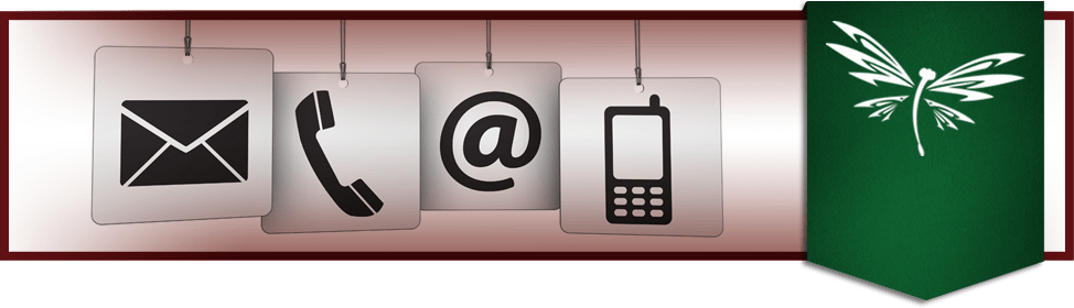 phone and email icons with Educating for Life motto banner