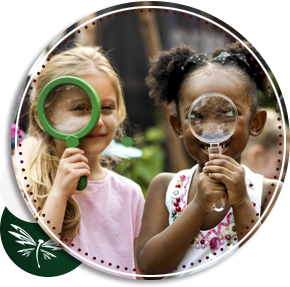 students with magnify glasses