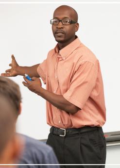 Man teaching to group