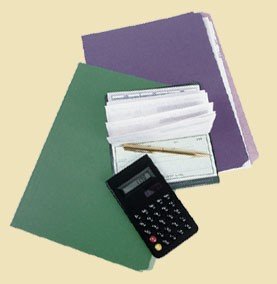 Calculator, checkbook, and folders