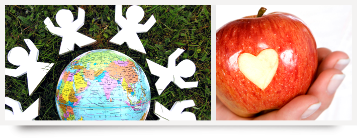 Globe and apple