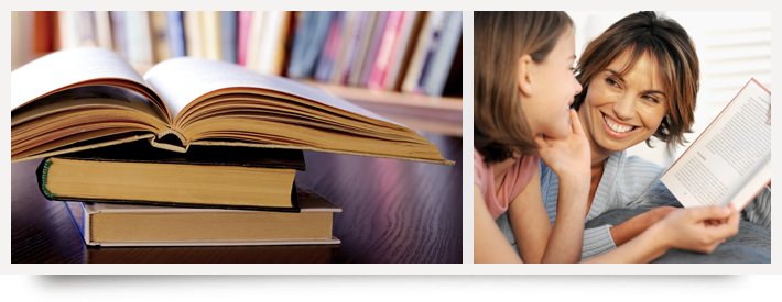 Stack of books and Parent and student with book