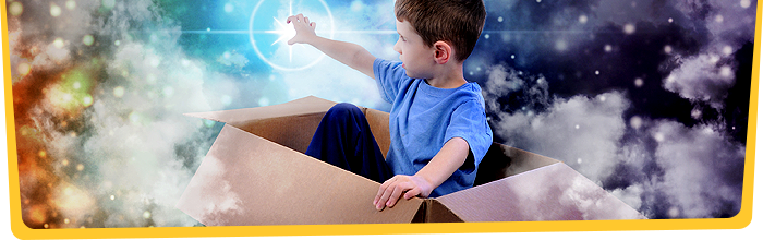 Boy imagining in box
