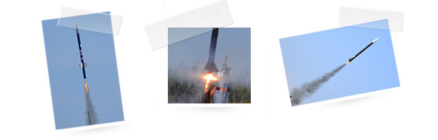 3 photos of rockets