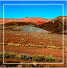 desert landscape with red mountain background