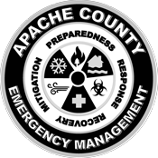 Apache County Emergency Management Seal. Mitigation - Preparedness - Response - Recovery