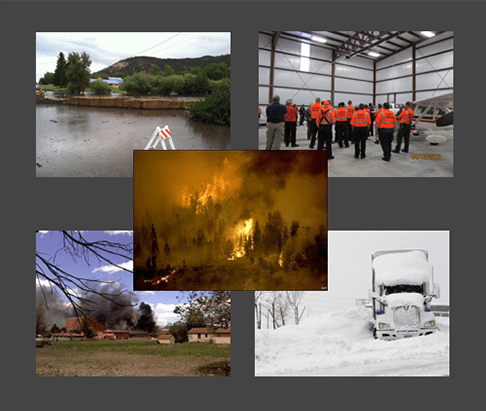 Photo collage of emergency management responses