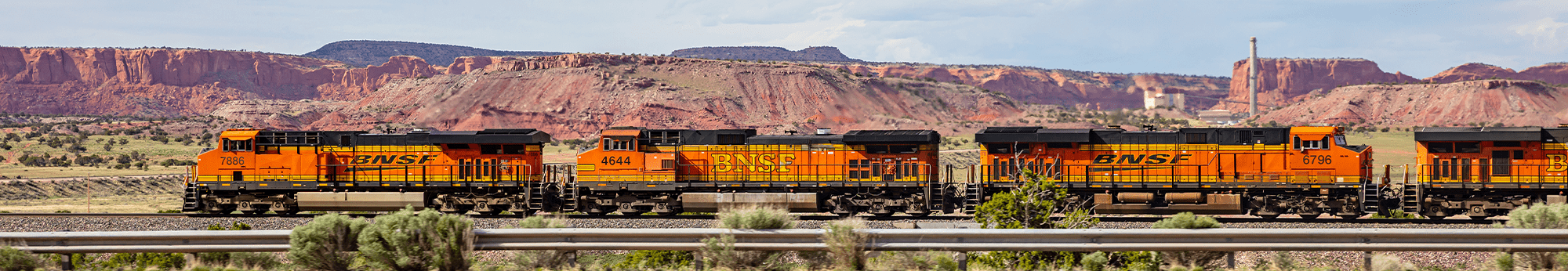 BNSF train running through the Arizona canyons