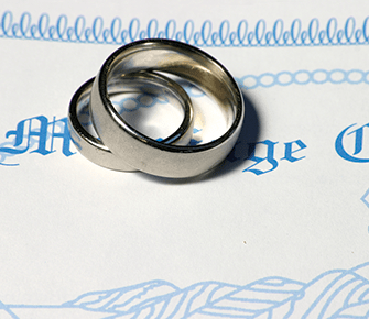 Two wedding rings stacked on top of each other