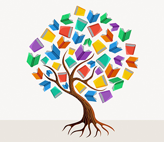 Colorful tree with books as leaves drawing