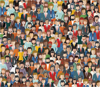 drawing of many people