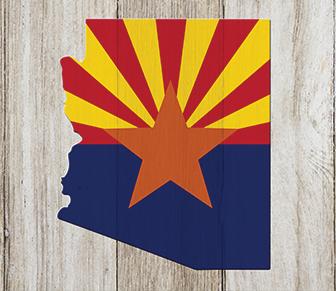 Arizona state flag painted on a wood panel