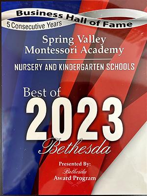Best of Bethesda award for nursery and kindergarten schools 2019