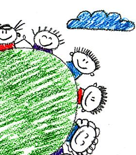 Crayon drawing of children around the globe