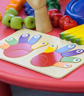 Colorful educational toys for preschool students