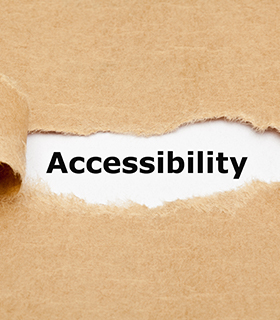 Accessibility written under a brown bag