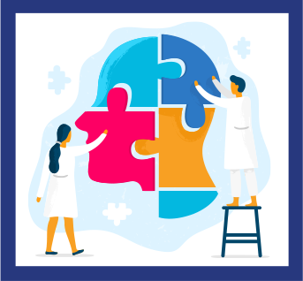 Drawing of two professional helping with mental illness awareness puzzle