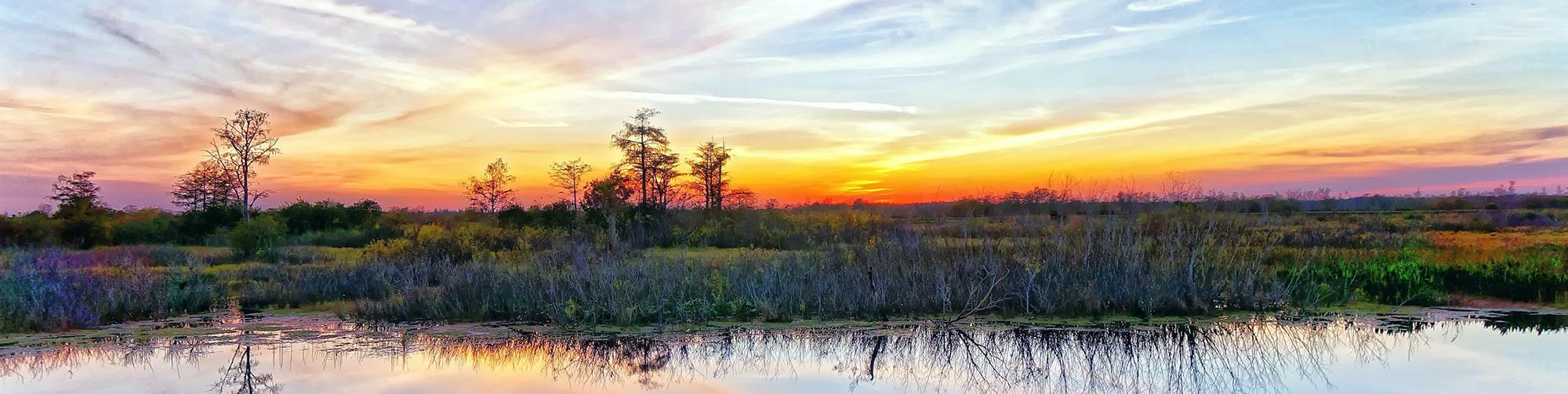 Beautiful Louisiana sunset landscape