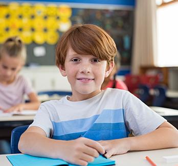 boy in a classroom