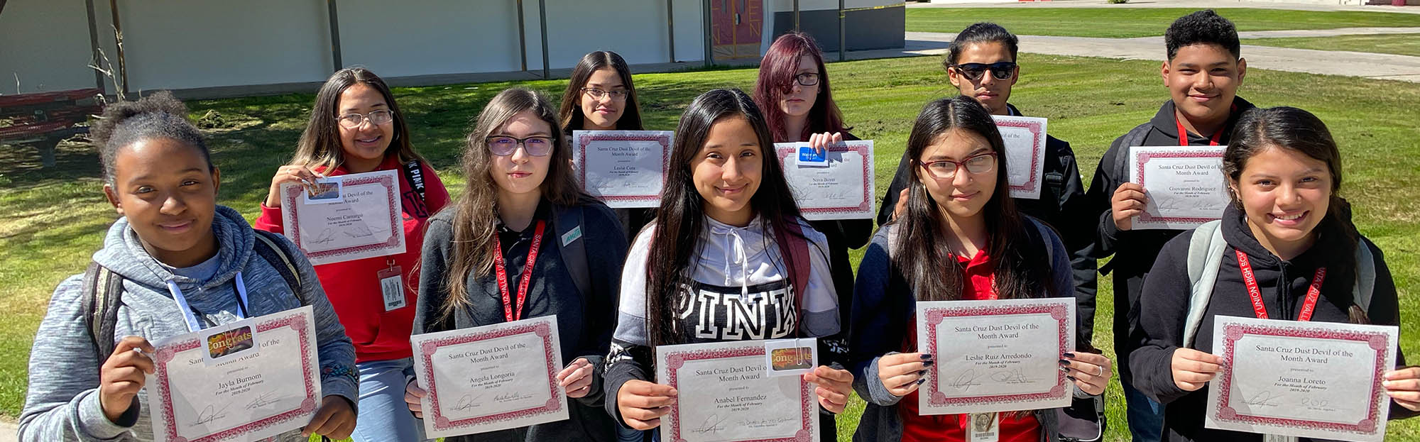 Proud Santa Cruz Valley students posing for a picture with their awards