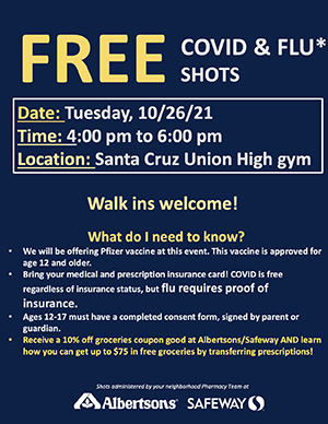 Free COVID-19 and Flu Shots flyer