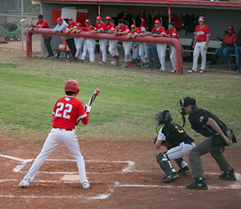 Baseball player at bat during a game