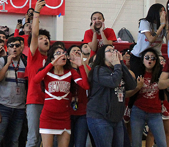 Spirited students during a pep rally