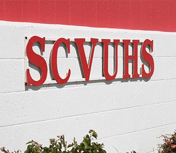 SCVUHS sign on the school building