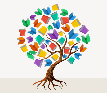 Drawing of a tree with books as leaves