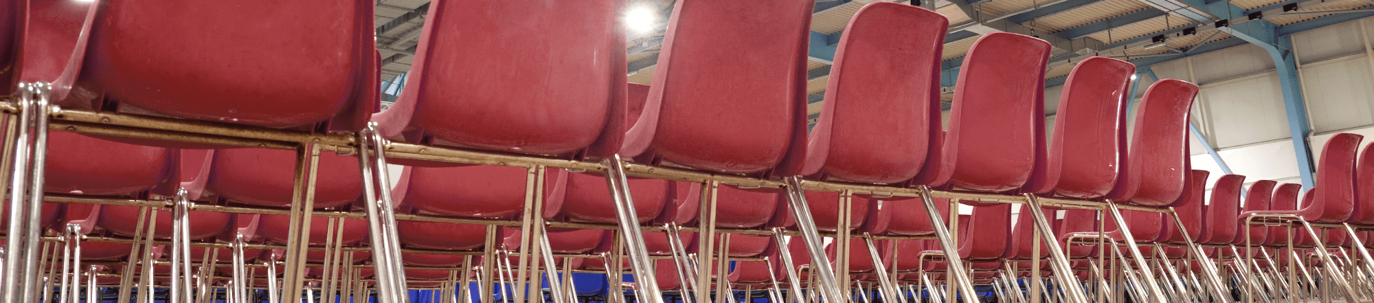 rows of red chairs