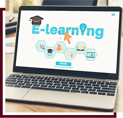 laptop with the word  E-learning on the screen