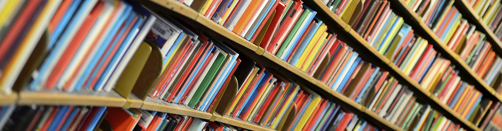 Colorful books lined up on a bookshelf