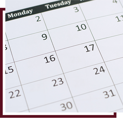 View of a monthly calendar