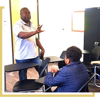 staff member teaching a class