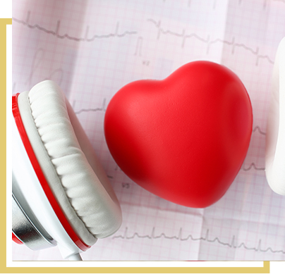 Headphones next to a heart