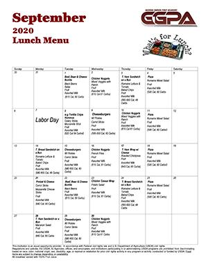 September 2020 Lunch Menu