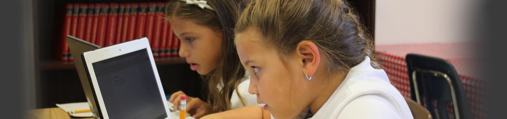 Student doing classwork on computer