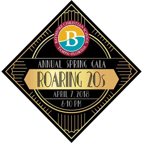 Bayshore Christian School. Tampa, Florida. Annual Spring Gala - Roaring 20s. April 7, 2018, 6 pm - 10 pm.