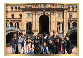 Students at Plaza de Espana, Spain