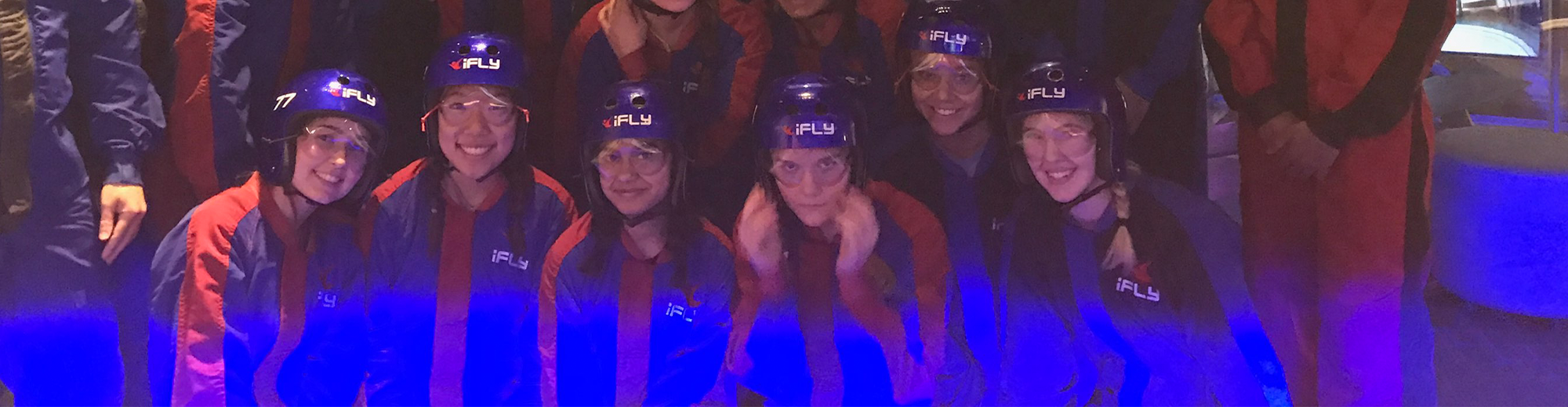 Students pose at iFly