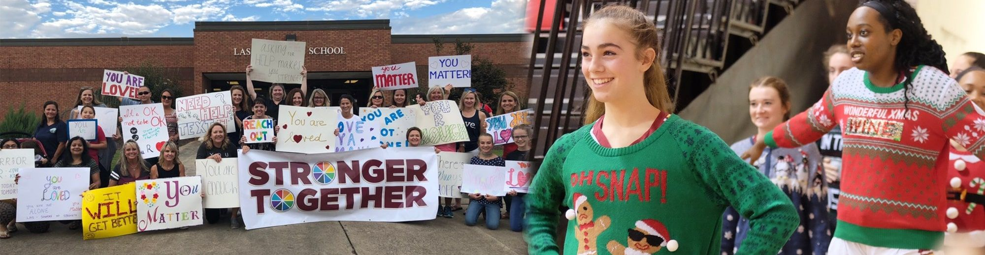 Women and female students pose in front of Lassiter High with stronger together and empowerment signs and female students show off their Christmas sweaters