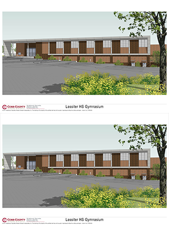 Lassiter High School Gymnasium Football Side Elevation and Front Elevation Render