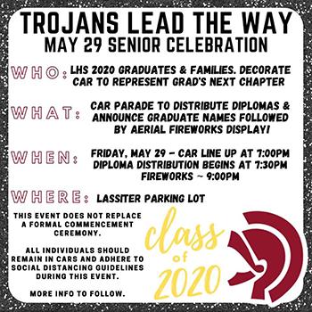Trojans Lead the Way May 29 Senior Celebration flyer