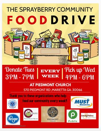 Sprayberry Community Food Drive flyer