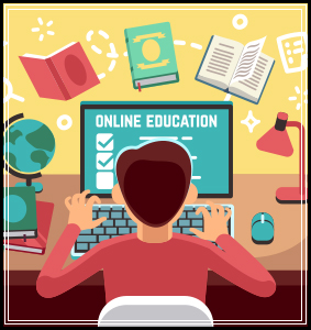 Drawing of student learning from home on computer